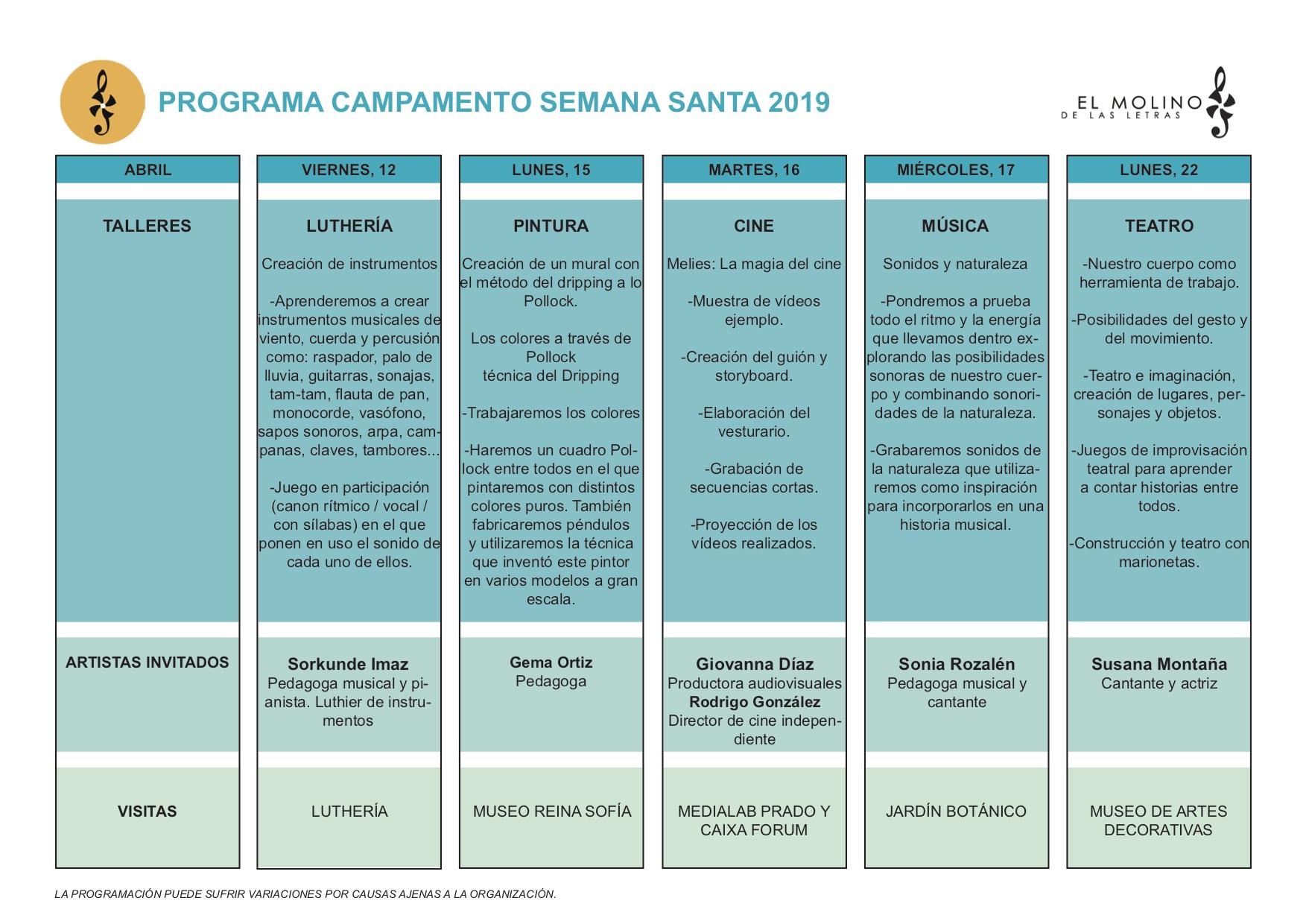 Programa del Campamento de Semana Santa en El Molino de Las Letras, Escuela de Música y otras Artes en el centro de Madrid.