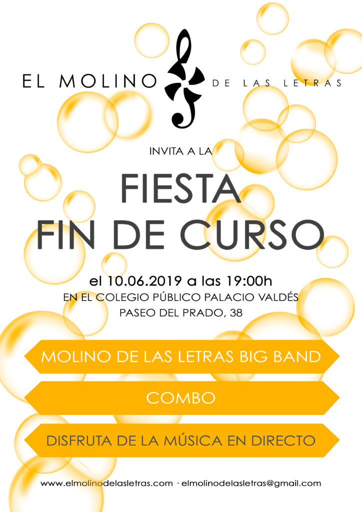 fiesta fin de curso, escuela de música, danza y otras artes El Molino de Las Letras, en el corazón de Madrid. Disfruta de la música en directo. Celebramos el fin de curso en el CEIP Palacio Valdés, con Big Band y Combo.