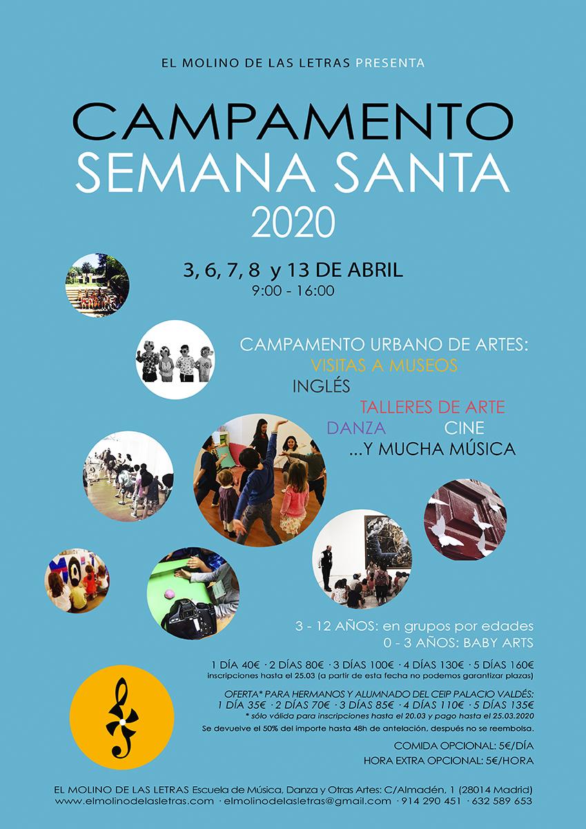 Campamento Urbano de Artes, Semana Santa en El Molino de Las Letras, Escuela de Música, Danza y otras Artes en el corazón de Madrid