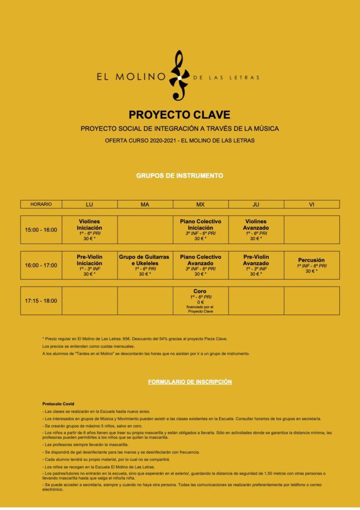 Proyecto Clave Grupos de Instrumento CEIP Palacio Valdés Madrid